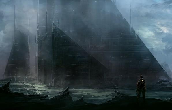 Картинка здание, человек, ChrisCold, sci fi city wall
