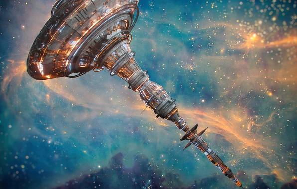Картинка космос, звёзды, станция, база, space station X2