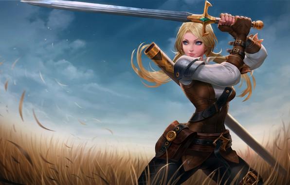 Картинка girl, sword, fantasy, field, weapon, Warrior, blue eyes, blonde, digital art, artwork, fantasy art
