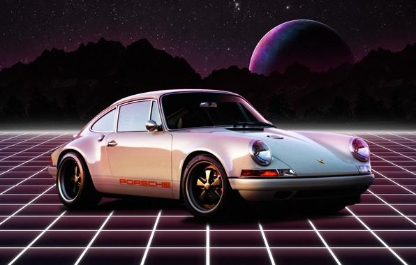 Картинка Горы, Белый, Porsche, Неон, Ретро, Планета, Космос, Машина, Porsche 911, 1980, Retro, Synthpop, Darkwave, Synth, …