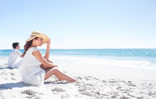 Картинка Море, Пляж, Девушка, Парень, Отдых