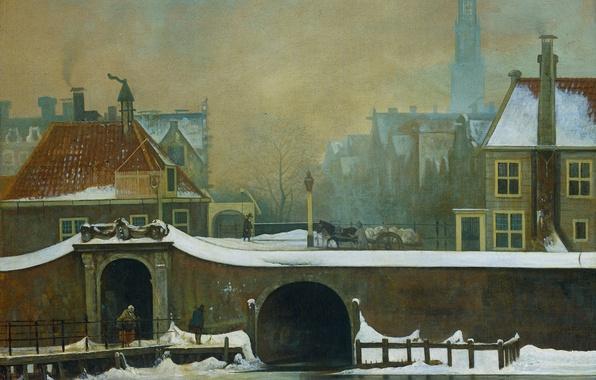 Картинка картина, городской пейзаж, Ваутер Йоханнес ван Троствийк, Raampoortje в Амстердаме