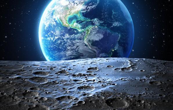 Картинка звезды, земля, луна