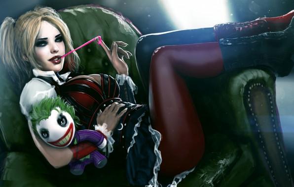 Картинка попа, девушка, ноги, игрушка, сапоги, злодей, задница, joker, harley quinn, жвачка, Dr. Harleen Frances Quinzel