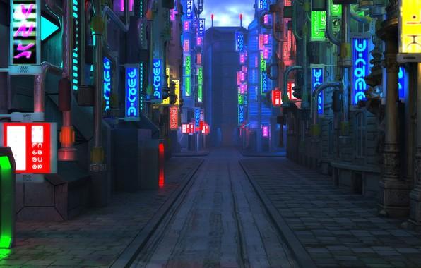 Картинка улица, тротуар, Blade Runner Future City