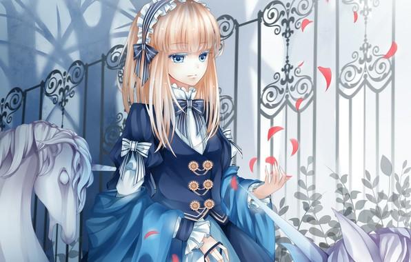 Картинка ограда, лепестки, платье, единорог, девочка, бантики, голубые глаза, шаль, челка, в парке, ободок