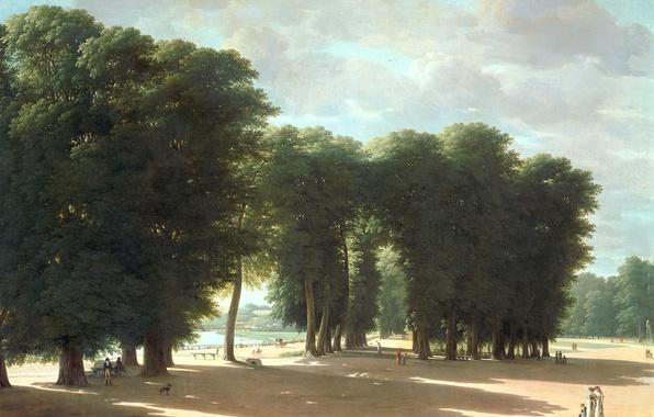 Картинка пейзаж, масло, картина, холст, Питер Рудольф Клейн, Вход в Парк Сен-Клу в Париже