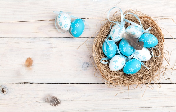 Картинка весна, Пасха, гнездо, корзинка, wood, spring, Easter, eggs, decoration, Happy, яйца крашеные
