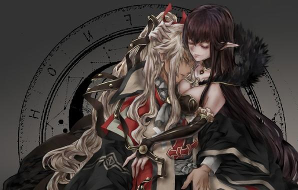 Картинка girl, cleavage, boobs, anime, hug, elf, artwork, feeling, symbols, anime girl, pointy ears, Fate/Apocrypha, Fate …