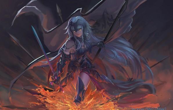 Картинка девушка, улыбка, оружие, арт, Fate / Grand Order