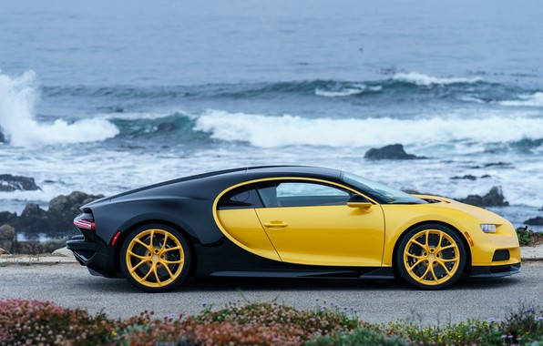 Картинка побережье, Bugatti, 2018, Chiron, Yellow and Black