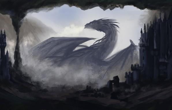 Картинка тьма, дракон, дома, фэнтези, арт, профиль