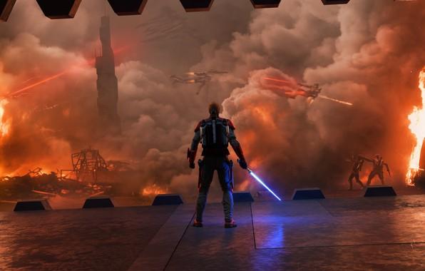 Картинка Star Wars, war, fight, jedi, shield, light saber, by thetechromancer