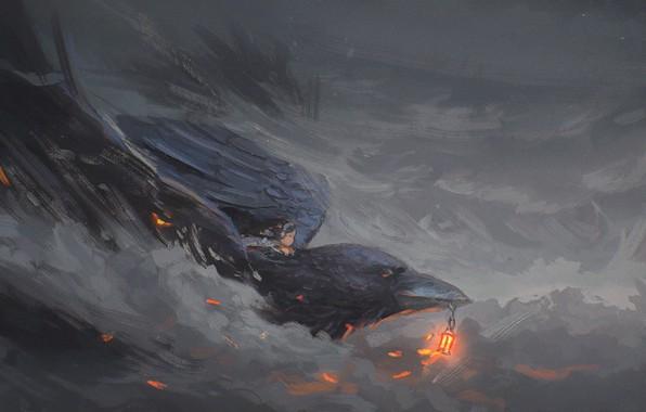 Картинка птица, дым, клюв, арт, девочка, фонарь, ворон, ворона