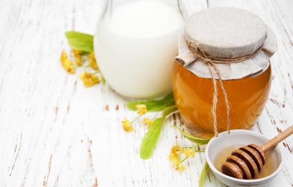 Картинка молоко, мед, липа