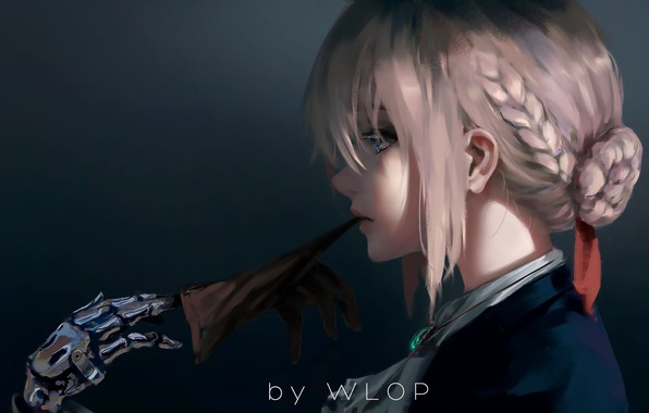 Картинка girl, fantasy, anime, blue eyes, blonde, digital art, artwork, braids, glove, anime girl, Wlop, Fate …