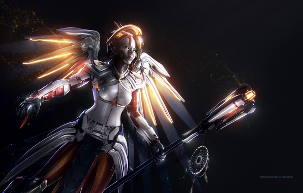 Картинка game, mecha, weapon, angel, tenshi, Overwatch, Mercy
