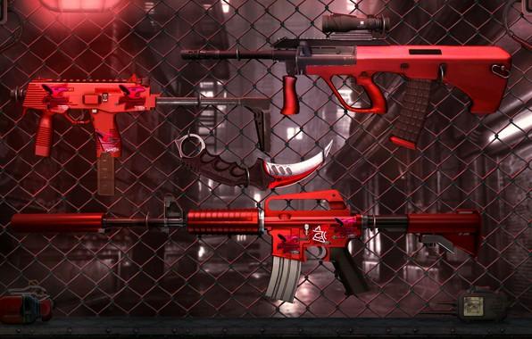 Картинка wallpaper, game, art, counter strike global offensive, cs go, karambit, CS GO., штурмовая винтовка Colt …