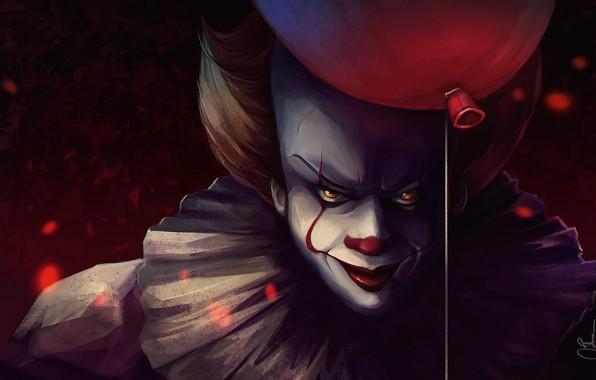 Картинка фильм, клоун, демон, воздушный шарик, Оно, Pennywise