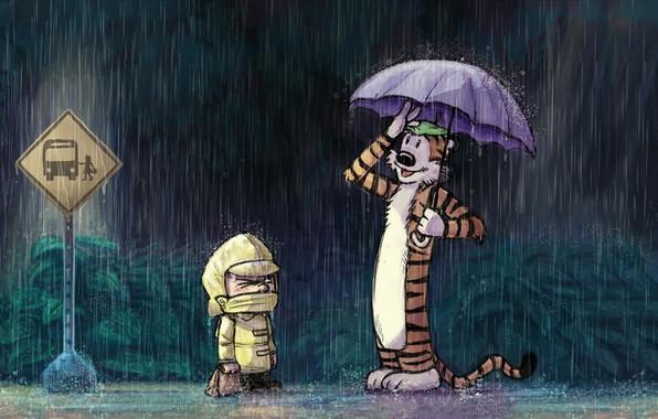 Картинка тигр, дождь, игрушка, мальчик, остановка, дорожный знак, комикс, Calvin and Hobbes, дождевик, Кельвин и Хоббс, …