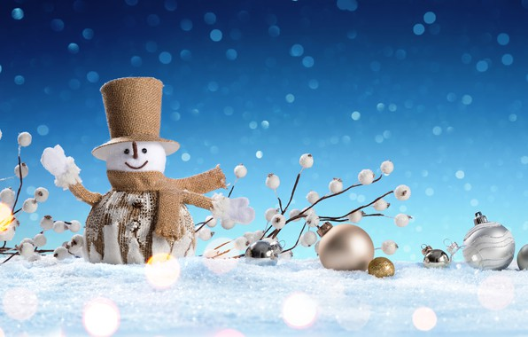 Картинка зима, снег, снежинки, Новый Год, Рождество, снеговик, happy, Christmas, winter, snow, Merry Christmas, Xmas, snowman, ...