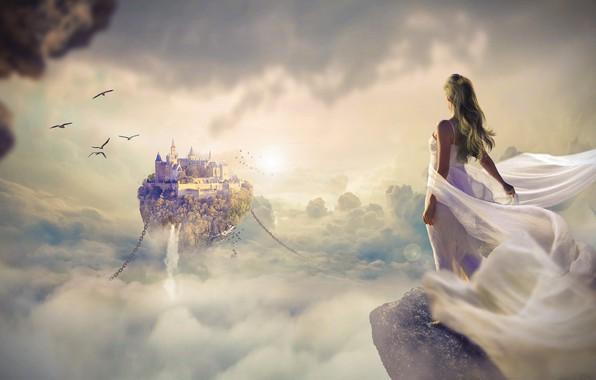 Картинка небо, мечта, девушка, облака, свет, полет, птицы, город, туман, скала, рендеринг, замок, фантазия, фантастика, обрыв, …