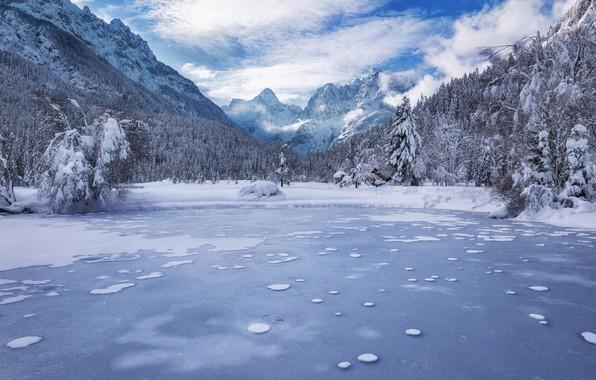 Картинка зима, лес, горы, озеро, Словения, Slovenia, Kranjska Gora, Lake Jasna, Краньска-Гора, Юлийские Альпы, Julian Alps, …