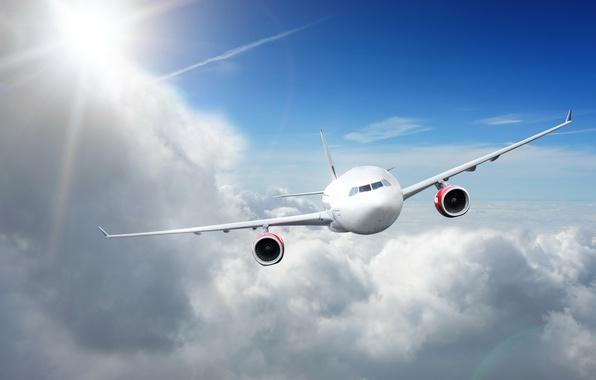 Картинка солнце, облака, самолет, летит, в небе, пассажирский, высоко