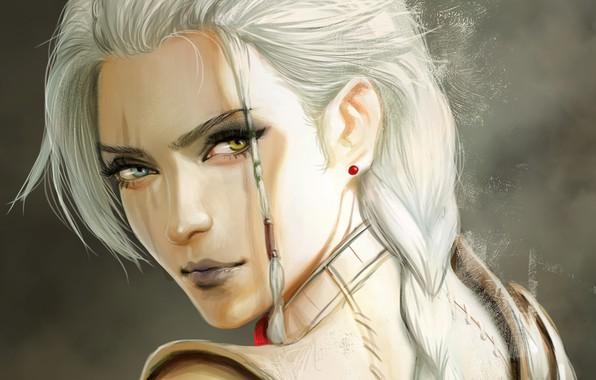 Картинка взгляд, девушка, лицо, фэнтези, арт, блондинка, коса