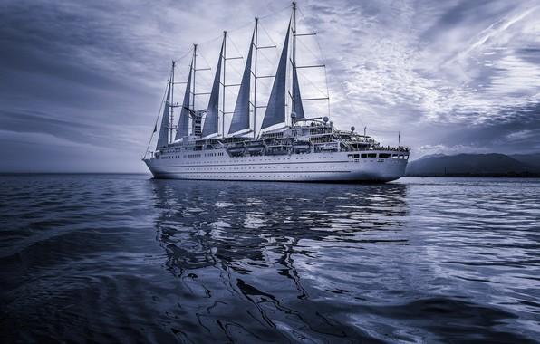Картинка море, корабль, паруса