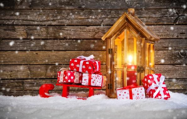 Картинка снег, свеча, Новый Год, Рождество, фонарь, подарки, санки, winter, snow, merry christmas, decoration