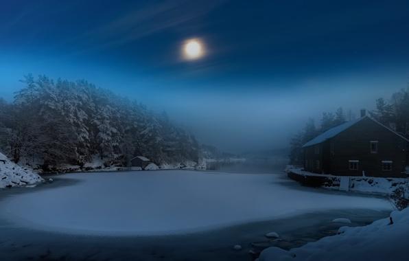 Картинка зима, ночь, туман, дом