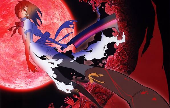Картинка полнолуние, красные глаза, Higurashi no Naku Koro ni, убийца, безумие, резня, тесак, рваная одежда, жертвы, …
