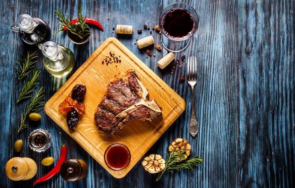 Картинка зелень, вино, мясо, соус, wood, специи
