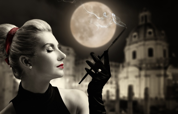 Картинка девушка, стиль, ретро, луна, помада, кольцо, сигарета, перчатки, профиль, мундштук