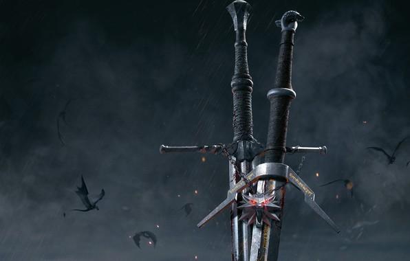 Картинка оружие, медальон, мечи, The Witcher 3: Wild Hunt, Ведьмак 3: Дикая Охота