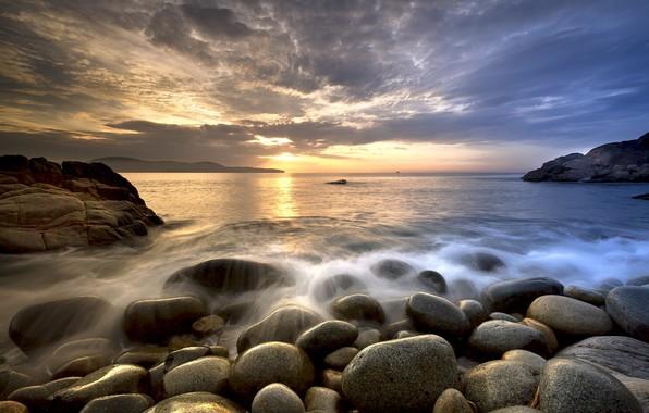 Картинка море, пляж, закат, камни, Природа
