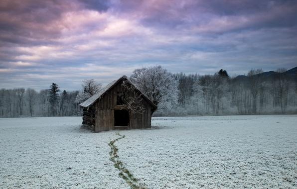 Картинка зима, поле, дом, Следуйте за мной