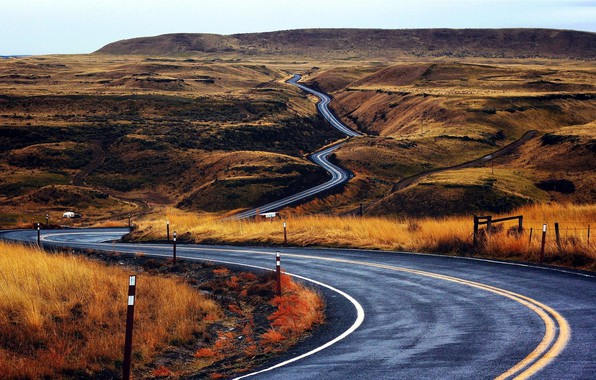 Картинка дорога, холмы, серпантин