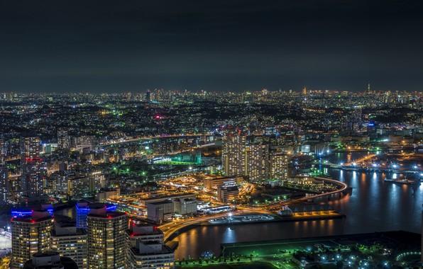 Картинка ночь, огни, Япония, Токио, Yokohama Bay