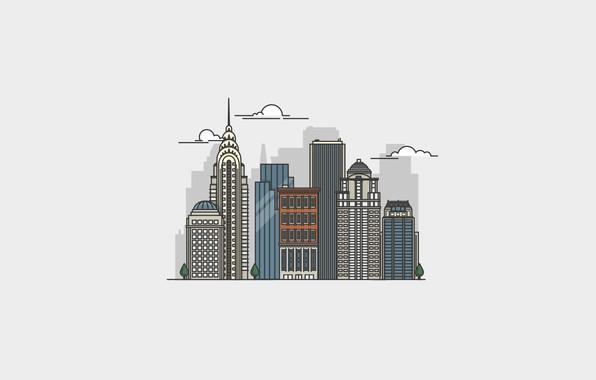 Картинка city, город, Нью-Йорк, Манхэттен, небоскрёбы, Manhattan, New York City, Chrysler Building, Крайслер-билдинг