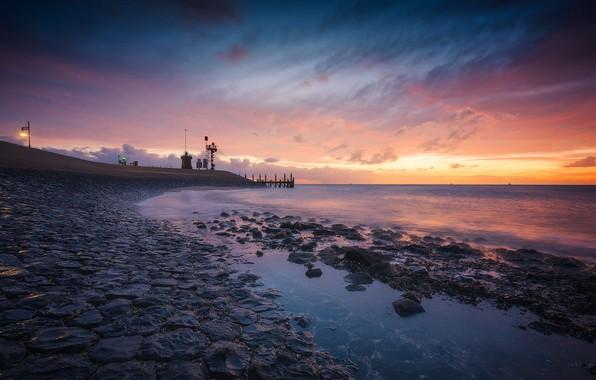 Фото обои море, Нидерланды, вечер, отлив, пирс, Тексел, камни