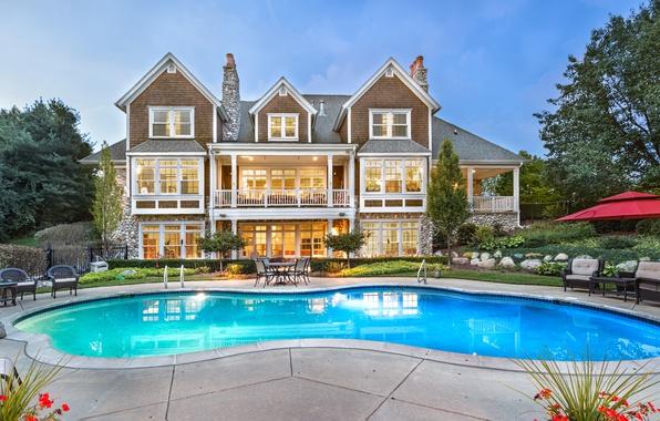 Картинка дизайн, дом, вилла, бассейн, архитектура, особняк