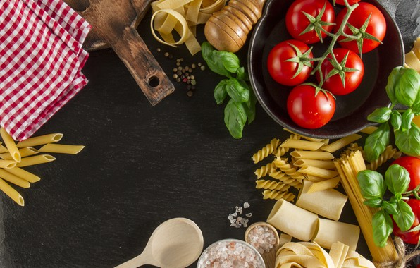 Картинка еда, помидоры, food, Italian, паста, базилик