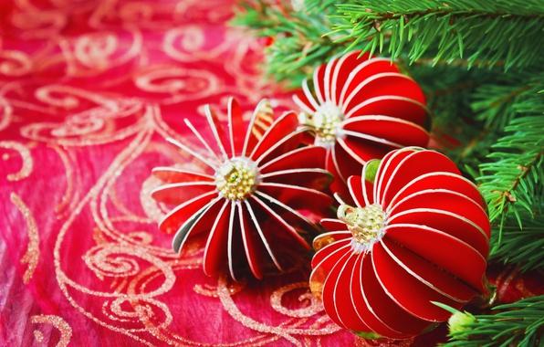 Картинка украшения, ветки, праздник, узор, игрушки, новый год, рождество, ёлка, хвоя