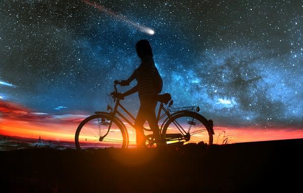 Картинка девушка, закат, велосипед, комета