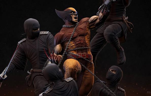 Картинка X-Men, wolverine, ninja, marvel comics, logan, James Howlett