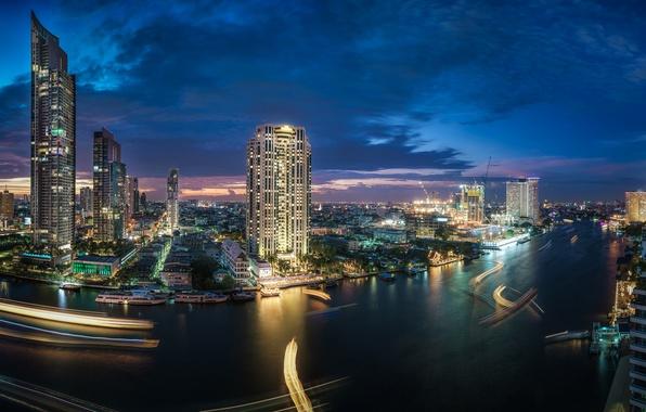 Картинка река, здания, Таиланд, Бангкок, Thailand, ночной город, небоскрёбы, Bangkok, Chao Phraya River, Кхлонгсан, река Чаупхрая, …