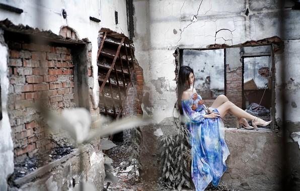 Картинка девушка, цветы, трещины, поза, стена, настроение, голубое, ноги, здание, платье, брюнетка, окно, лестница, туфли, старое, …