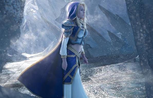 Картинка girl, World of Warcraft, game, Warcraft, armor, cosplay, blonde, Jaina Proudmoore, hood
